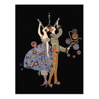 Vintage Art Deco Party Goers Celebration Postcard