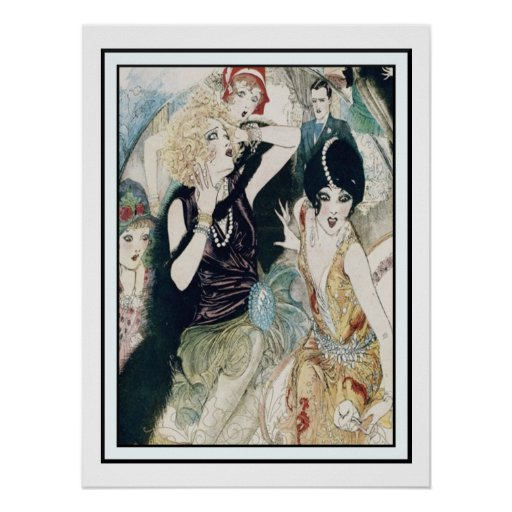 Vintage Art Deco Party Mayhem and Mischief Poster