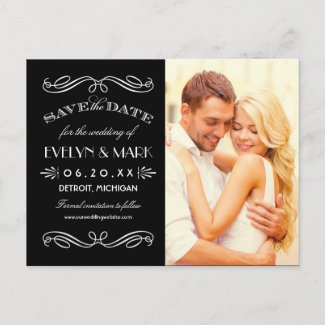 Vintage Art Deco | Photo Save the Date Announcement Postcard