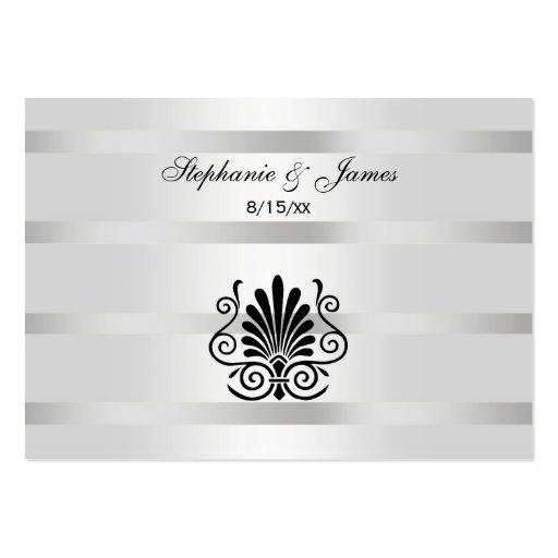 Vintage Art Deco Plume Black White Escort Cards #2 Business Card Templates