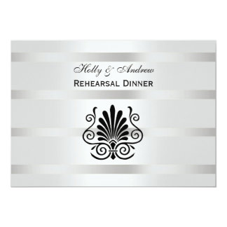 Vintage Art Deco Plume Black White H Rehearsal Din 5x7 Paper Invitation Card
