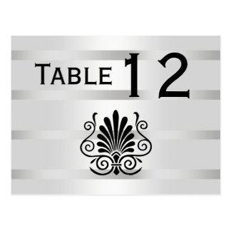 Vintage Art Deco Plume Black White H Table Number Postcard