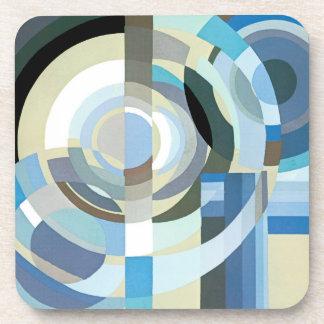 Vintage Art Deco Pochoir Blue Jazz Geometric Shape Drink Coaster
