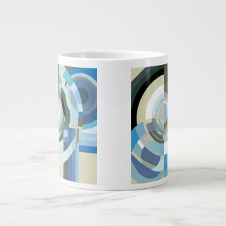 Vintage Art Deco Pochoir Blue Jazz Geometric Shape Jumbo Mug