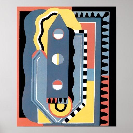 Vintage art deco pochoir jazz geometric patterns poster for Pochoir deco