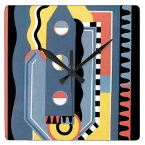 Vintage Art Deco Pochoir Jazz Geometric Patterns Square Wall Clock