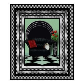 Vintage Art Deco Poster Silver Red Black Sofa Cat