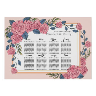 Vintage art deco roses royal wedding seating chart