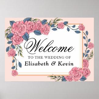 Vintage art deco roses royal wedding welcome sign