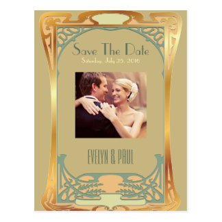 Vintage Art Deco Save The Date ~ Gatsby Inspired Postcard