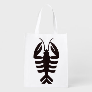Vintage Art Deco Seafood, Lobster in Black Reusable Grocery Bag