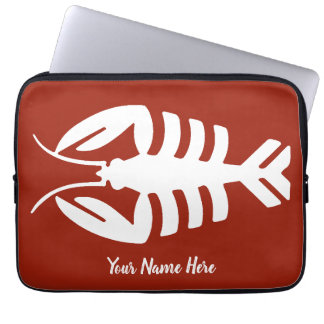 Vintage Art Deco Seafood, Lobster in White on Red Laptop Sleeve