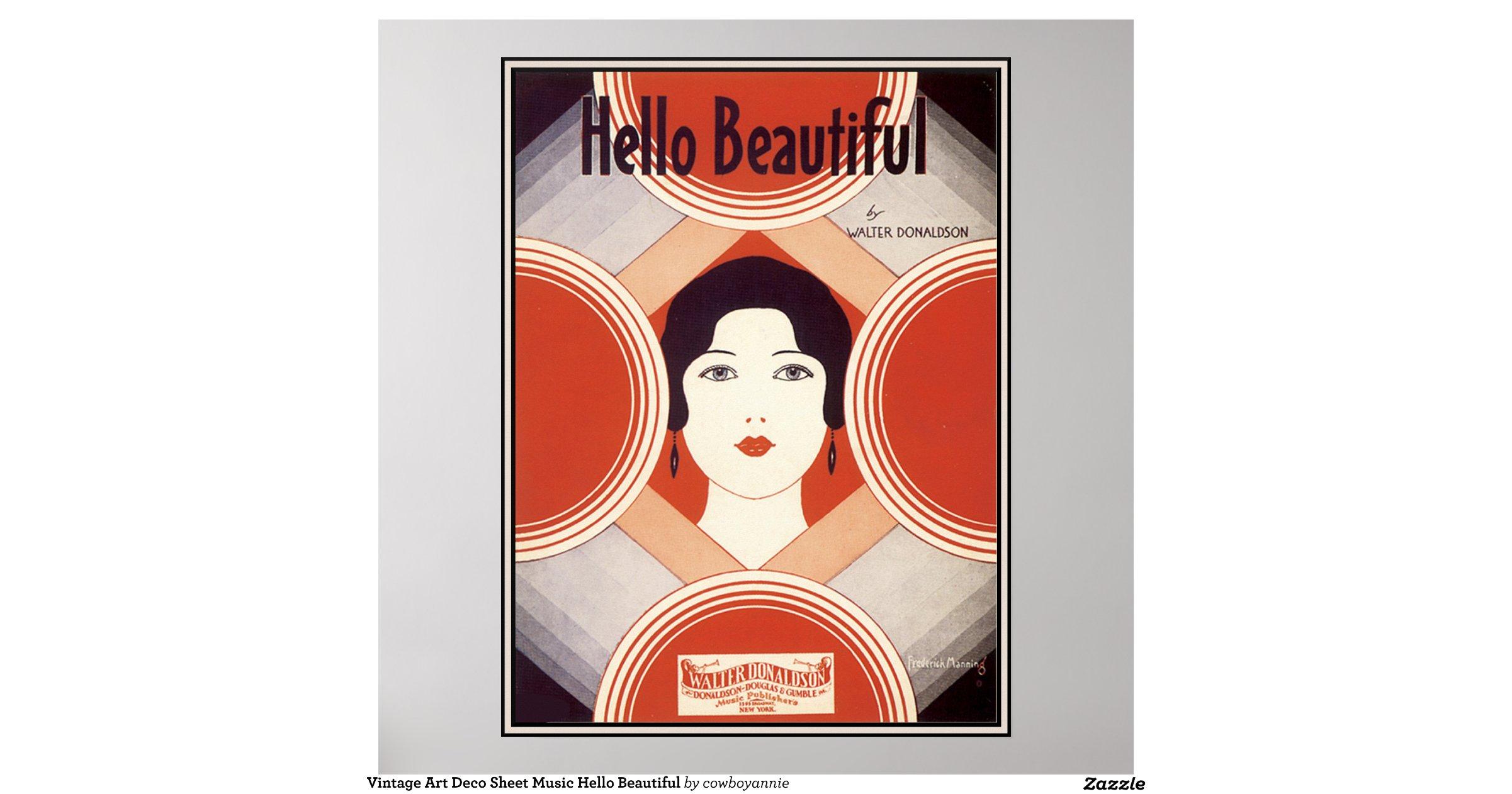 Vintage Art Deco Sheet Music Hello Beautiful Poster