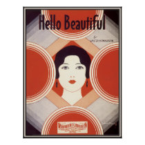 Vintage Art Deco Sheet Music Hello Beautiful