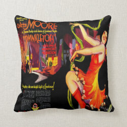 Vintage Art Deco Silent Film Advert Throw Pillow