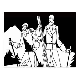 Vintage Art Deco Ski Couple Skiers Illustration Postcard
