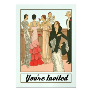 "Vintage Art Deco Sophisticated Anniversary Party 4.5"" X 6.25"" Invitation Card"