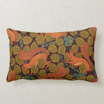 Vintage Art Deco Squirrel and Leaves Design Lumbar Pillow