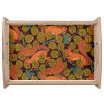 Vintage Art Deco Squirrel and Leaves Service Trays