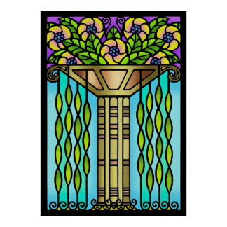 Vintage art deco stain glass floral design poster