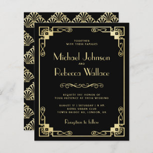 Gatsby Invitation 064 Marble Wedding Invitation Gatsby Wedding Collection Art Nouveau Invite Art Deco Wedding White and Gold Wedding