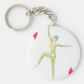 vintage art deco style dance figure ace of hearts keychain
