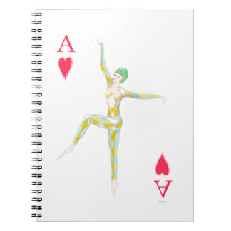 vintage art deco style dance figure ace of hearts notebook
