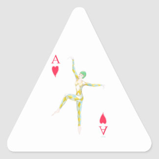 vintage art deco style dance figure ace of hearts triangle sticker