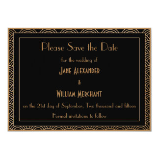 Vintage Art Deco Style Fans Wedding Save the Date Card