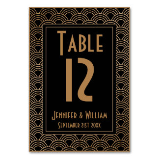 Vintage Art Deco Style Fans Wedding Table Number Card