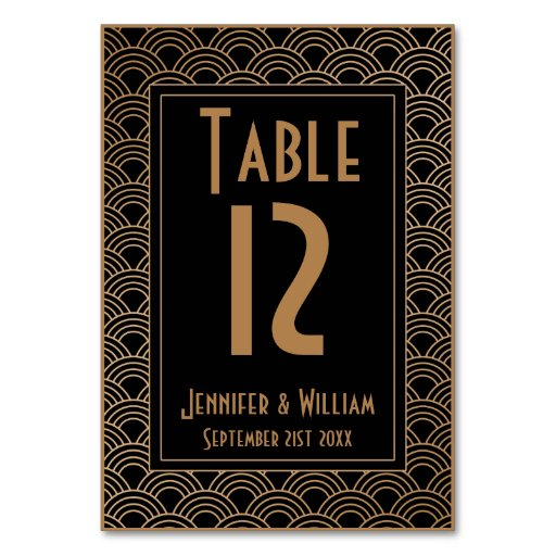 Vintage art deco style fans wedding table number table for Deco style retro