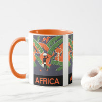 Vintage Art Deco Travel, Native in African Jungle