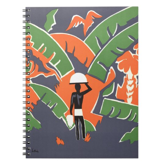 Vintage Art Deco Travel, Native in African Jungle Notebook
