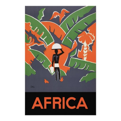 Vintage Art Deco Travel, Native in African Jungle Poster