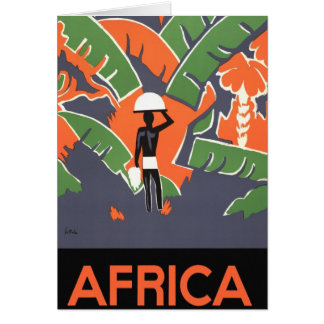 Vintage Art Deco Travel Poster, African Jungle Greeting Card