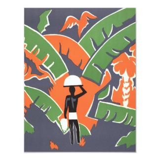 Vintage Art Deco Travel Poster, African Jungle Custom Invitations