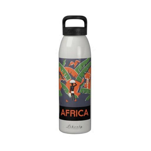 Vintage Art Deco Travel Poster, African Jungle Drinking Bottle