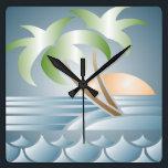 """Vintage Art Deco Tropical Beach Wall Clock<br><div class=""""desc"""">Pretty pastel Art Deco tropical beach design in green,  blue and peach.</div>"""