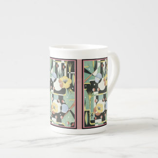 Vintage Art Deco Watercolor flower print Tea Cup