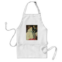 Vintage Art Deco Wedding Bride and Groom Newlyweds Adult Apron