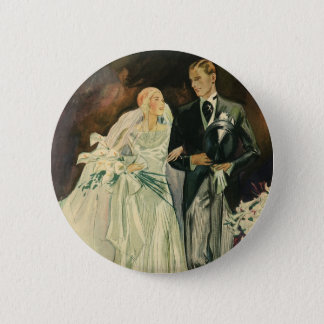 Vintage Art Deco Wedding Bride and Groom Newlyweds Button