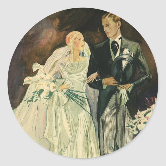 Vintage Art Deco Wedding Bride and Groom Newlyweds Classic Round Sticker