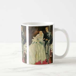 Vintage Art Deco Wedding Bride and Groom Newlyweds Coffee Mug