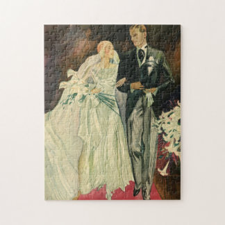 Vintage Art Deco Wedding Bride and Groom Newlyweds Jigsaw Puzzle