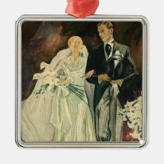 Vintage Art Deco Wedding Bride and Groom Newlyweds Metal Ornament