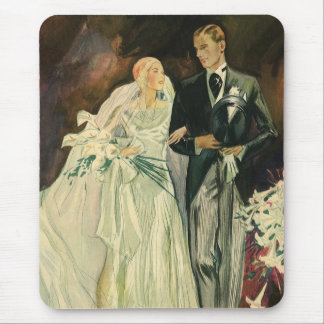 Vintage Art Deco Wedding Bride and Groom Newlyweds Mouse Pad