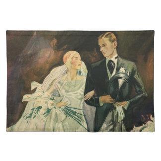 Vintage Art Deco Wedding Bride and Groom Newlyweds Placemat