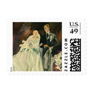 Vintage Art Deco Wedding Bride and Groom Newlyweds Postage