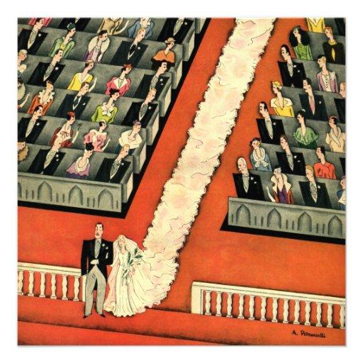 Vintage Art Deco Wedding, Bride Groom Newlyweds Invite