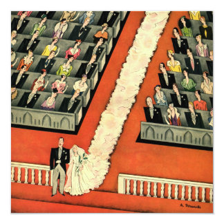 Vintage Art Deco Wedding, Bride Groom Newlyweds 5.25x5.25 Square Paper Invitation Card